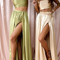 Green Tie Back Two Piece Bandeau Side Slit Off Shoulder Backless Maxi Dress
