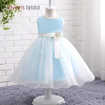 Baby Blue Flower Girl Dresses for Weddings  Organza Beaded Kids Dresses for Girls
