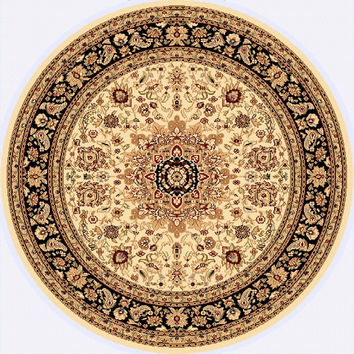 Dynamic Rugs Yazd Cream-Black Classic Round Area Rug