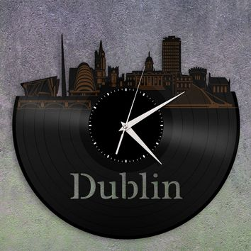Wall Clock Decorative Clock, Dublin Clock, Irish Gift, Ireland Art, Home Decor, Vinyl Record Silent Clock, Gift For Grandma, For Grandpa