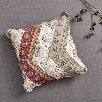 "DaDa Bedding Bohemian Patchwork Cranberry Sage Chevron Floral Euro Pillow Sham Cover, 26"" x 26"" (JHW924)"