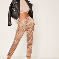 Missguided - Rose Gold Pocket Detail Cuffed Satin Joggers