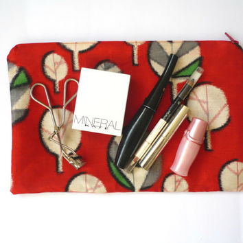 red silk makeup bag with leaf fabric from Japanese vintage kimono, zipper cosmetic bag of leaf design