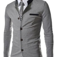 TheLees Mens Slim Fit 2 Tone China Collar Cardigan