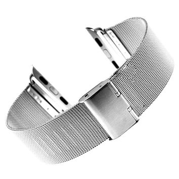 38mm 42mm Silver Tiny Mesh Stainless Steel Watchband for iWatch Apple Watch Wrist Band Bracelet Strap Replacement +2 Spring Bars