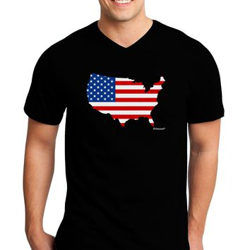 United States Cutout - American Flag Design Adult Dark V-Neck T-Shirt by TooLoud
