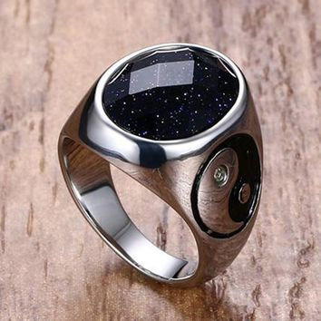 Men's Stainless Steel Ring Colorful Red Black White Brown Green Opal Stone Ring Yin Yang Punk Ring for Men