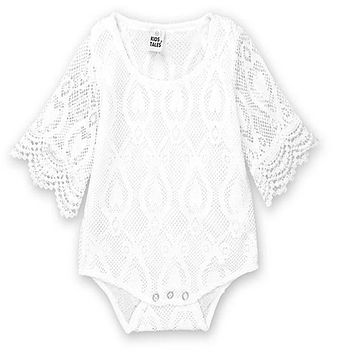 Infant newbron Baby Clothes Girl white  Lace Floral Romper Jumpsuit Outfits Sunsuit 2018 Summer Baby Girls Romper