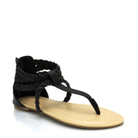faux-leather-braided-sandals BLACK BROWN WHISKY - GoJane.com