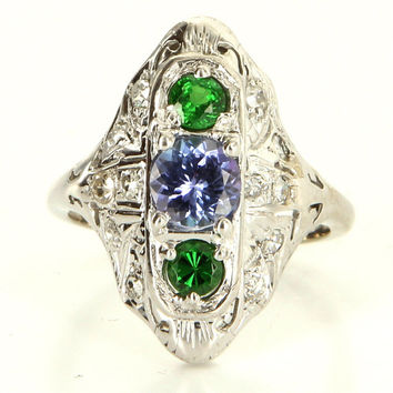Vintage 14k White Gold Tanzanite Tsavorite Green Garnet Filigree Cocktail Ring