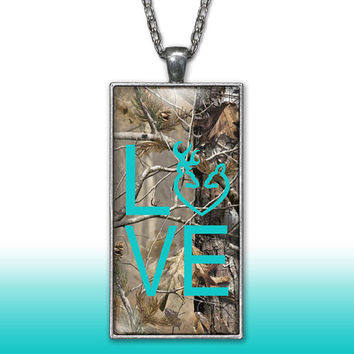 Camo Love Heart Pendant Charm Necklace Deer Head Browning Aqua Country Girl Custom Necklace, Silver Plated Jewelry
