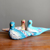 Vintage Mexican Painted Ceramic Bird - Dark Blue