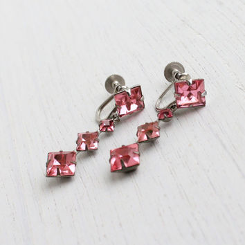Antique Pink Rhinestone Clip On Earrings - Vintage 1930s 1940s Silver Tone Prong Set Glass Costume Jewelry Accessories / Art Deco Screw Back