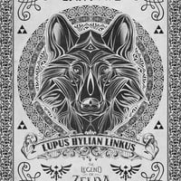 Legend of Zelda Twilight Wolf Link Line Art Art Print by Barrett Biggers
