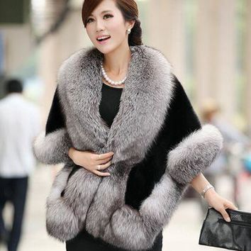 2016 Winter Leather grass fox fur mink rabbit fur poncho cape bridal wedding dress shawl cape women vest fur coat