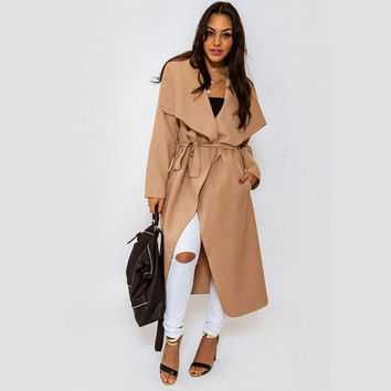 VIP Women's Winter Long Wool Coat Drape-Front Long Sleeve Wrap Coats Slim Woolen Overcoat Black Camel Trench Coat Outwear CJE1011