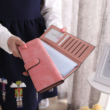 2016 new arrival 55 Cards position high capacity nubuck long design women cards holder free shipping