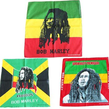 Rasta Style Reggae Music Print BOB MARLEY Bandanas Men Pocket Square Ladies Headband Handkerchief Headscarf Neckerchief TJ9006