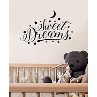 Vinyl Wall Decal Sweet Dreams Lettering Stars Crescent Bedroom Baby Room Stickers Mural Unique Gift (ig4989)