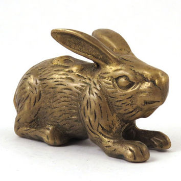 Vintage Brass Rabbit Paperweight or Tchotchke, Great for Easter!