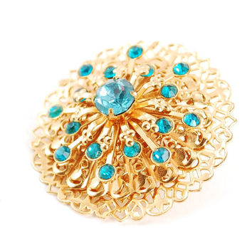 Vintage Blue Rhinestone Starburst Brooch Pin (Designer Signed CORO, Aqua Blue Crystals, Gold Filigree Brooch, 1950s Atomic Costume Jewelry)