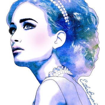 Blue Diamonds Watercolor Fashion Illustration by EstherBayer