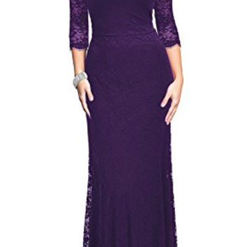 REPHYLLIS Women's Retro Floral Lace Vintage Bridesmaid Wedding Long Dress