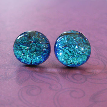 Dichroic Blue Studs, Hypoallergenic Earrings, Fashion Earring Jewelry, Evening Jewelry - Nannette - 2331 -4