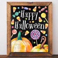 Happy Halloween print, decor, printable, Halloween wall art, sign, trick or treat, poster, fall decoration, autumn, 7x5, 8x10, 11x14