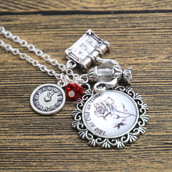 12pcs/lot Tale As Old As Time Beauty and the Beast Necklace clock book flower charm necklace