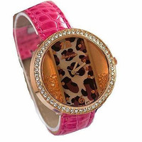 Pink  Circle w/ Rectangle Leapard and Rhinestone Watch with Pink Leather Band