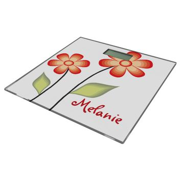 Cute Red Flowers Personalized Bathroom Scale