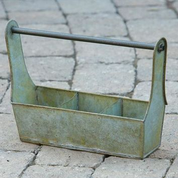 Rustic Green Grungy 3-Section Tool Box, 13-1/2 by 4 by 9-1/2-Inch,