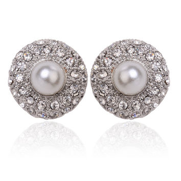 Bridal Silver Crystal & Centered Pearl Earrings