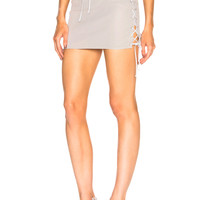 Unravel Leather Side Lace Up Skirt in Ice Grey | FWRD