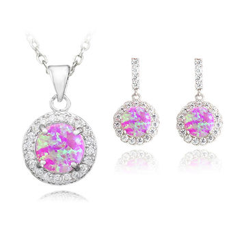Pink Opal Pendant Necklace & Earrings
