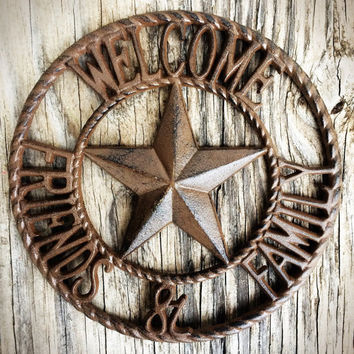 Western Star & Rope Welcome Sign - Shabby Chic Rustic Cowboy Wall Art