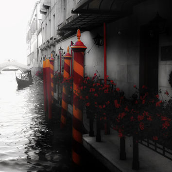 Romance on the Canals - Venice, Italy, Color Splash, Red, Yellow, Black and White, Romantic, Fine Art Photograph