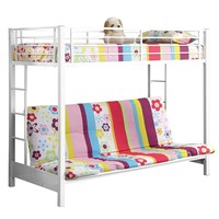 Twin over Futon Metal Bunk Bed - White
