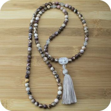 Picture Jasper Mala with Ice Crystal Quartz