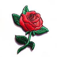 Rose Tattoo / Iron-on Patches / Old-school Red Rose / Rose Tattoo / Appliqué / Flower Embroidery / DIY Denim Jacket