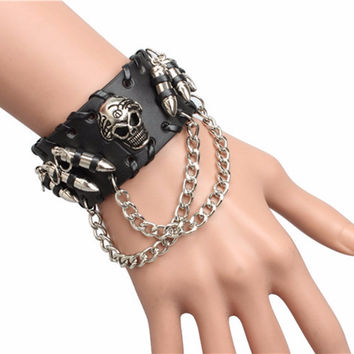 1pc Cool Rock Punk Men Woman Unisex PU Leather Bullet Skull Bracelets Bracelet hot!