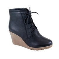 NEW Women Fashion Chukka Style Lace Up Platform Wedge Heel Ankle Boots Bootie