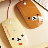 1pcs Rilakkuma San-X Relax Bear Optical USB Mice wired Mouse  Beige Color