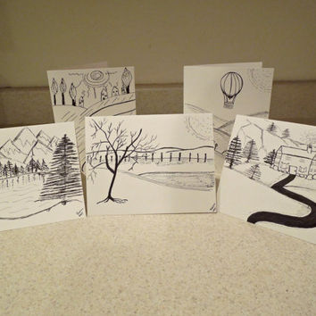 Hand Drawn Cards Pen and Ink Landscapes Original SFA Art