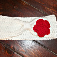 Crochet Women's Ear Warmer - White with Red Rose - Winter Accessories