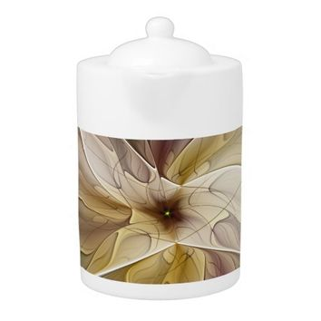 Floral Fantasy Pattern Abstract Fractal Art Teapot