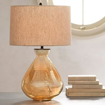 ALANA LUSTER GLASS TABLE LAMP BASE - AMBER