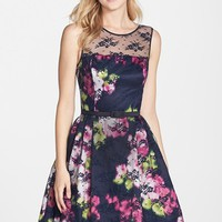 Women's Eliza J Belted Lace Overlay Floral Print Dress