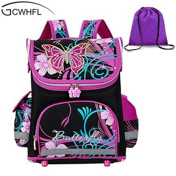 CREYCI7 GCWHFL Children School Bags Girls Orthopedic Butterfly Design Princess School Backpack Kids Satchel Knapsack Mochila Infantil